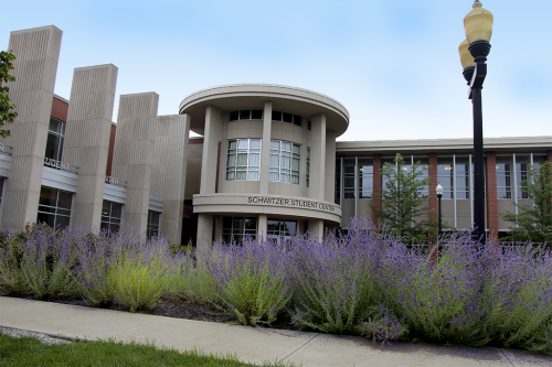 uindy-schwitzer-student-center-with-flowers